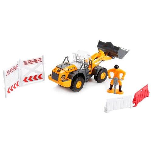 Фото - Бульдозер ТЕХНОПАРК с дорожными знаками (U1408A-4) 12.5 см оранжевый бульдозер технопарк с дорожными знаками u1408a 4 12 5 см оранжевый