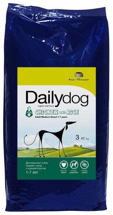 Корм для собак Dailydog Adult Medium Breed chicken and rice