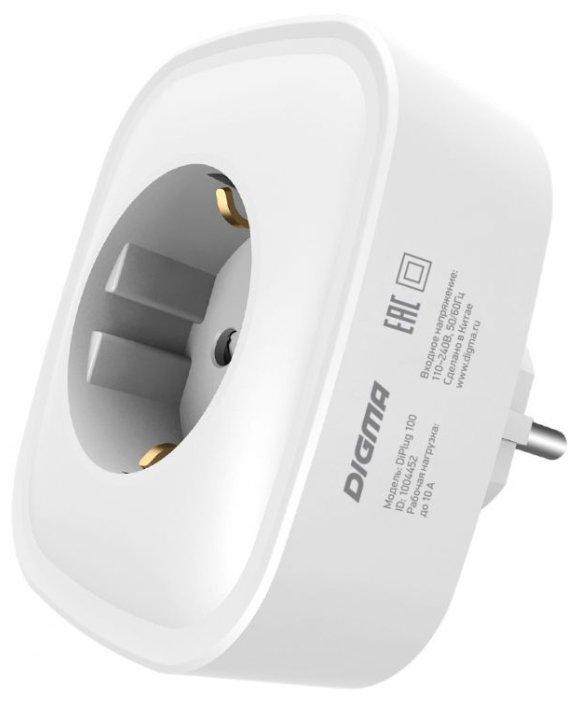Розетка Digma Умная розетка DiPlug 100 дистанционное вкл/выкл приборов, белый