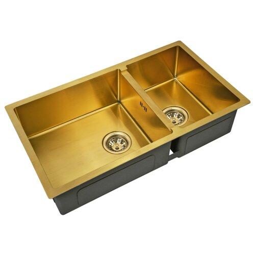 Фото - Врезная кухонная мойка 78 см ZorG PVD SZR-78-2-44 BRONZE бронза врезная кухонная мойка 78 см zorg szr 78 2 51 r bronze бронза