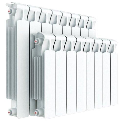 Радиатор секционный биметаллический Rifar Monolit 500 x4 теплоотдача 784 Вт, подключение универсальное боковое RAL 9016 биметаллический радиатор rifar рифар b 500 нп 10 сек лев кол во секций 10 мощность вт 2040 подключение левое