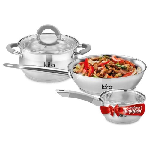 Фото - Набор посуды LARA LR02-110 Bell PROMO 4 пр серебристый набор кастрюль lara lr02 111 4 пр rio