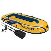 Надувная лодка Intex трехместная Challenger-3 (Set), 295х137х43 см, арт. 68370, Интекс