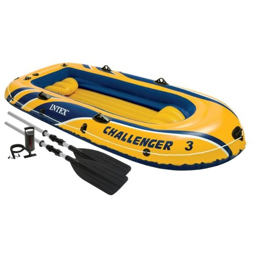 Надувная лодка Intex Challenger-3 (68370) желтый надувная лодка excursion 3 set весла насос до 300кг intex
