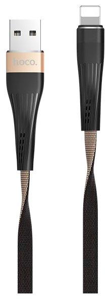 Кабель Hoco U39 Slender USB - Lightning 1.2 м золотой/черный фото 1