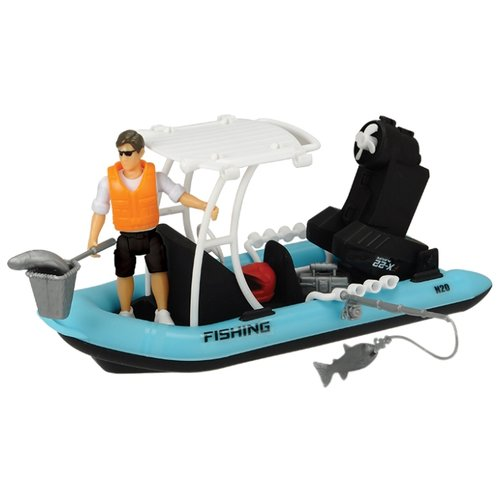 Лодка Dickie Toys Playlife Fishing Boat (3833004) 1:24 20 см голубой dickie toys сигнал регулировщика со светом 25 см dickie toys