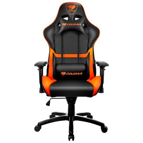 Компьютерное кресло COUGAR Armor игровое, обивка: искусственная кожа, цвет: черный/оранжевый