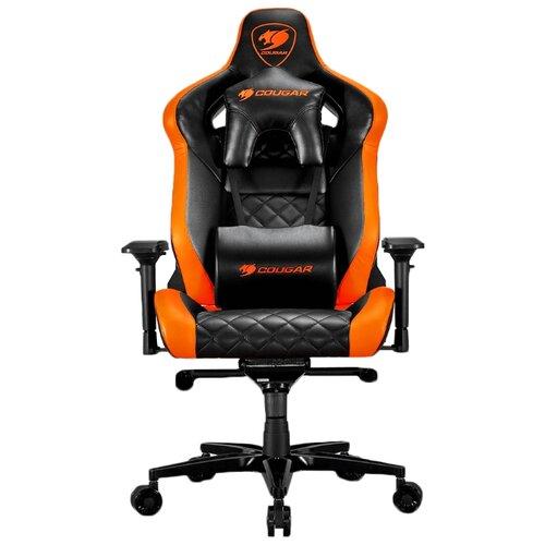 Компьютерное кресло COUGAR Armor Titan игровое, обивка: искусственная кожа, цвет: черный/оранжевый кресло компьютерное игровое cougar armor s b черный