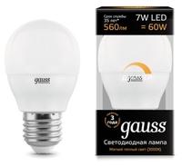 Лампа светодиодная gauss 105102107-D E27, G45, 7Вт, 3000К