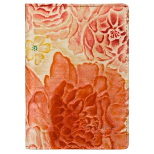 """Обложка для автодокументов Dr.Koffer """"Цветы"""" X510177-205-58, оранжевый"""