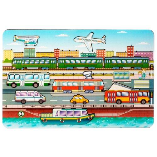 Рамка-вкладыш Нескучные игры Городской транспорт (8013), 11 дет. рамка вкладыш нескучные игры больше меньше геометрия