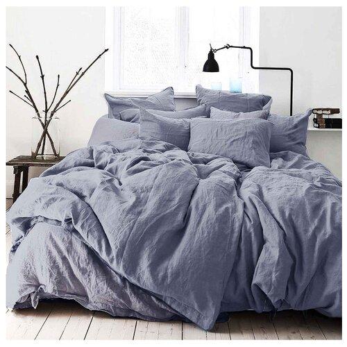 Постельное белье 2-спальное Seta Лен De Lux dark blueКомплекты<br>