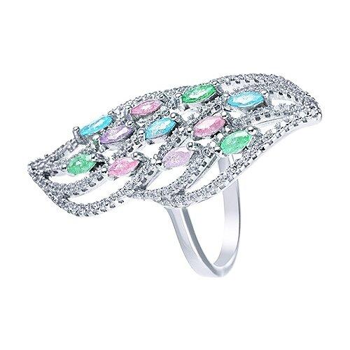 JV Кольцо с стеклом и фианитами из серебра CASR1415-US-001-WG, размер 17 jv кольцо с ювелирным стеклом из серебра b3198 us 011 wg размер 17 5