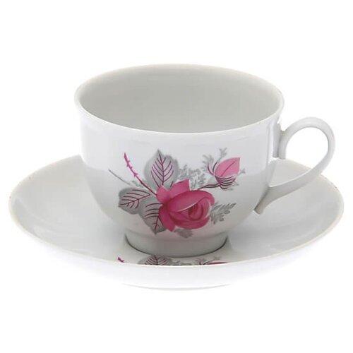 Дулёвский фарфор Чашка чайная с блюдцем Гранатовый Дикая роза 275 мл