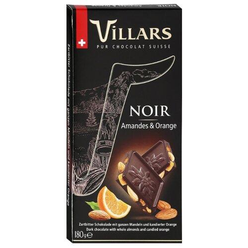 Шоколад Villars Noir Amandes & Orange темный с цельным миндалем и цукатами из апельсиновых корочек, 180 г