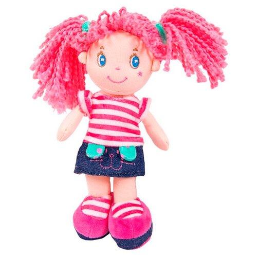 Мягкая игрушка ABtoys Кукла с розовыми волосами в джинсовой юбочке 20 см