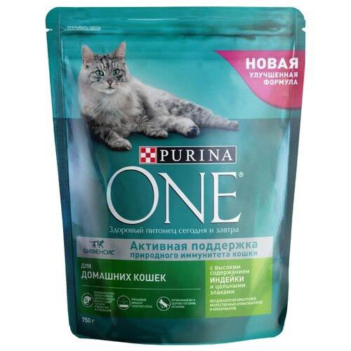 Корм для кошек Purina ONE с индейкой, с цельными злаками 750 г purina one сухой корм purina one для взрослых кошек с чувствительным пищеварением с индейкой и рисом 750 г