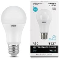 Лампа светодиодная gauss 23229 E27, A60, 20Вт, 4100К