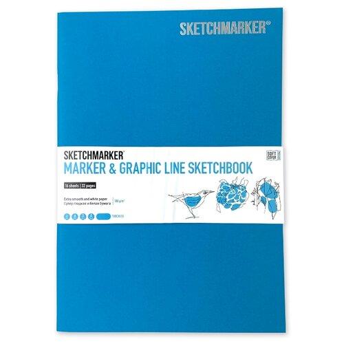 Фото - Скетчбук SketchMarker Marker&Graphic Line 25 х 17.6 см, 180 г/м², 16 л. бирюзовый блокнот graphic frankfurt l 256 стр 16 5 х 22 см 120 г м2