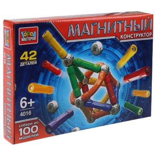 Купить Магнитный конструктор ГОРОД МАСТЕРОВ Магнитный 4016 Палочки и шарики, Конструкторы