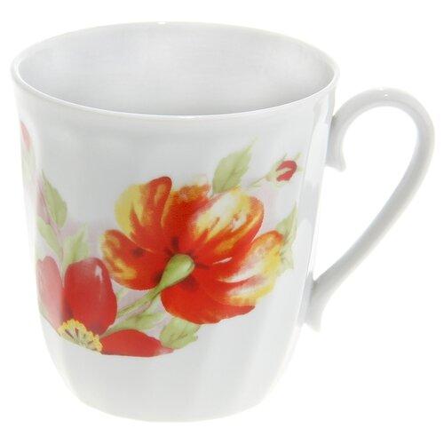 Дулёвский фарфор Кружка Витая Альпийские цветы 350 мл