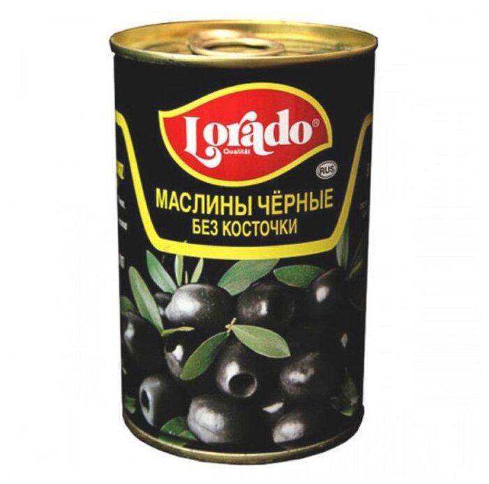 Lorado Маслины черные без косточки, жестяная банка 300 г