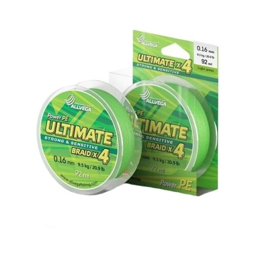 Плетеный шнур ALLVEGA ULTIMATE light green 0.16 мм 92 м 9.5 кг