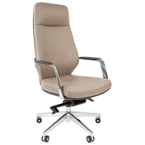 Компьютерное кресло Chairman 920 для руководителя, обивка: натуральная кожа, цвет: светло-серый/темно-серый