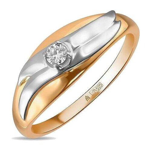 ЛУКАС Кольцо с 1 бриллиантом из красного золота R01-D-R59128, размер 17.5 фото