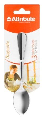 Attribute Набор чайных ложек Baguette 3 предмета серебристый