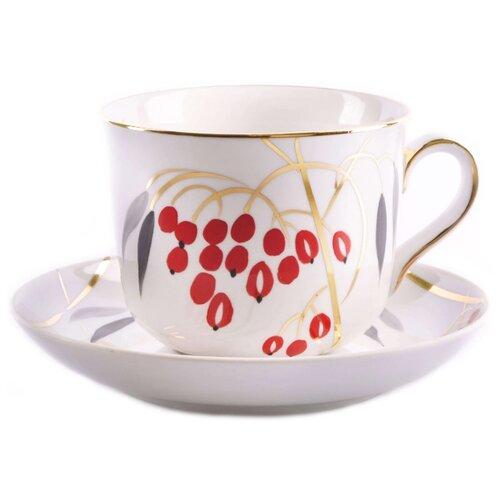 Дулёвский фарфор Чашка чайная с блюдцем Ностальгия Кизил 450 мл