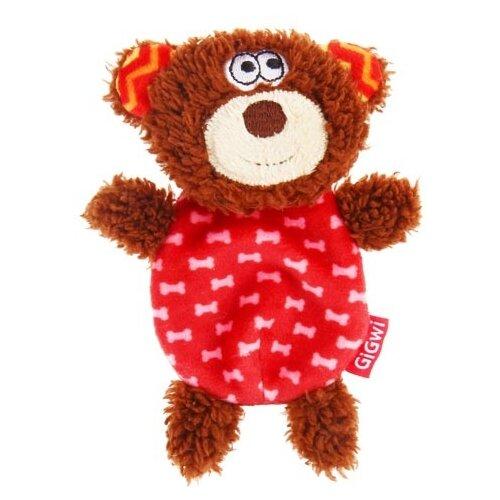 Игрушка для собак GiGwi Plush Friendz Медведь (75303) красный/коричневый игрушка для собак gigwi plush friendz белка 75309 коричневый бежевый