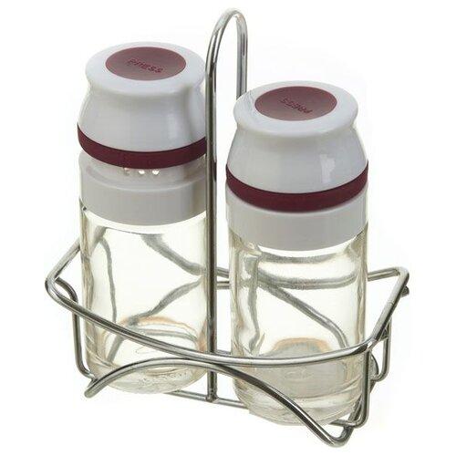 Sinoglass Набор для специй Easy press прозрачный/белый/бордовыйСолонки, перечницы и емкости для специй<br>