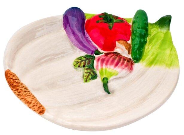 ELFF ceramics Тарелка Бабушкины соленья 15х12х3 розовый/зеленый/фиолетовый