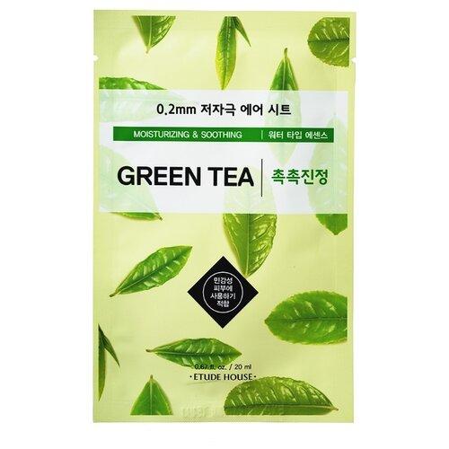 Etude House тканевая маска 0.2 Therapy Air Mask Green Tea с экстрактом зелёного чая, 20 мл цена 2017