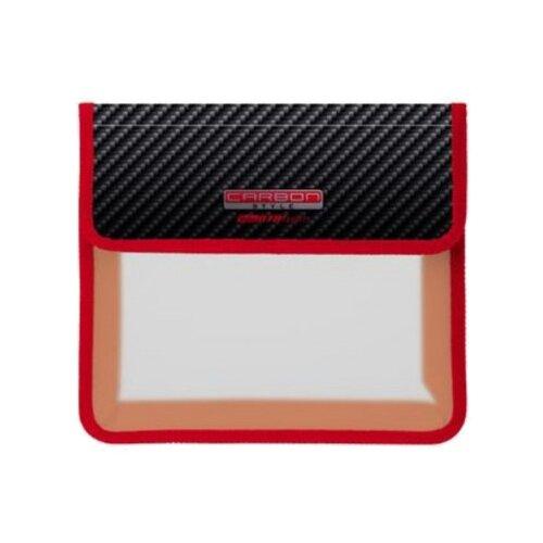 Hatber Папка для тетрадей 2 отделения на липучке A5 Carbon (AMp_52027) красный/черный