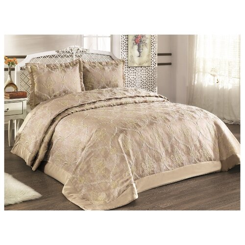цена на Комплект с покрывалом KARNA VENESIA 2972 260x260 (50x70+5)*2 см, золотисто-песочный