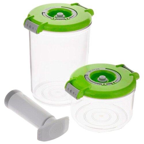 STATUS Набор вакуумных контейнеров VAC-RD-Round green набор контейнеров для вакуумирования status vac rd round blue