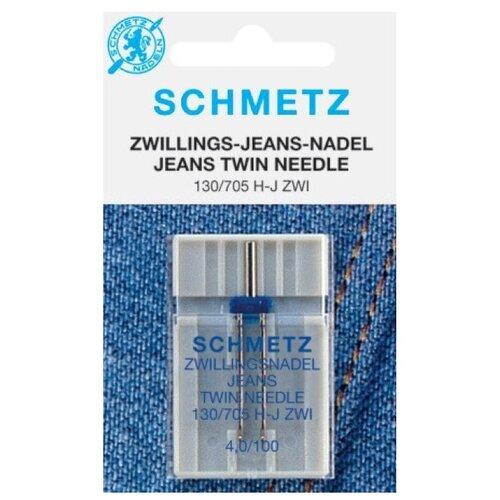 Игла/иглы Schmetz Jeans 130/705 H-J ZWI 4/100 синий/серебристый игла иглы schmetz 130 705 h zwi 4 90 двойные универсальные серебристый