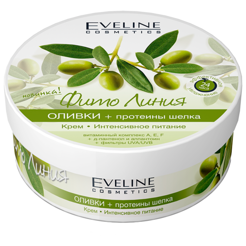 Крем для тела Eveline Cosmetics Фито Линия Оливки + протеины шелка Интенсивное питание, 210 млКремы и лосьоны<br>