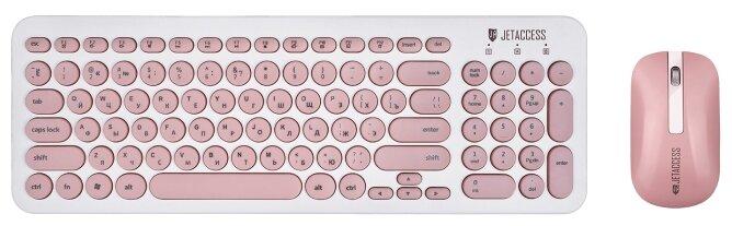 Клавиатура и мышь Jet.A Slim Line KM30W White-Pink USB