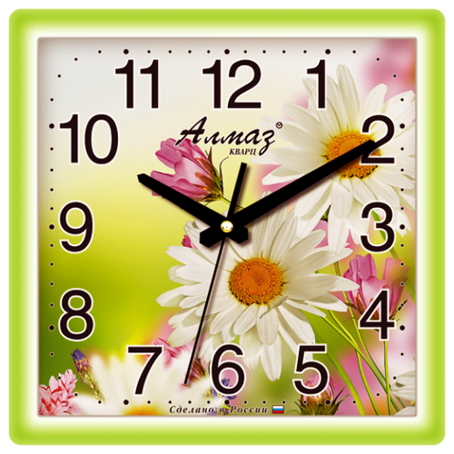 Часы настенные кварцевые Алмаз K11 салатовый