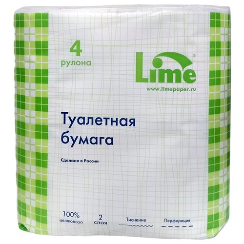 Туалетная бумага Lime белая двухслойная 4 рул. джемпер lime lime mp002xw18xob