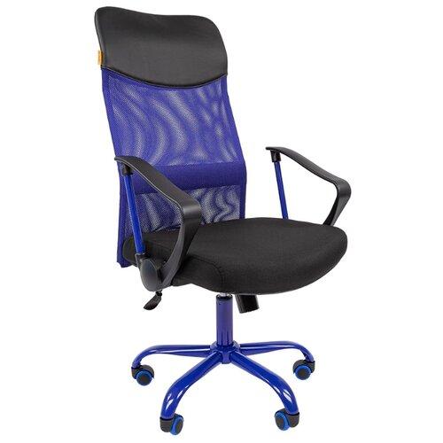 Фото - Компьютерное кресло Chairman 610 CMET для руководителя, обивка: текстиль/искусственная кожа, цвет: черный/синий компьютерное кресло chairman 668 lt для руководителя обивка искусственная кожа цвет черный бежевый