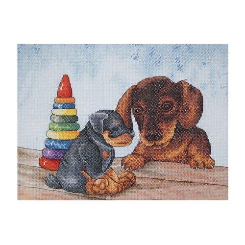Купить Hobby & Pro Набор для вышивания Два щенка 27 х 21 см (806), Наборы для вышивания
