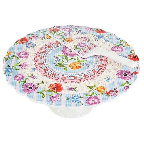 Nouvelle De France Подставка под торт на ножке Разноцветные тюльпаны 27.5 см белый/голубой/розовыйБлюда и салатники<br>