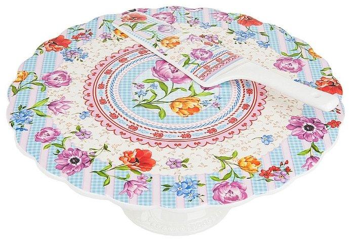 Nouvelle De France Подставка под торт на ножке Разноцветные тюльпаны 27.5 см белый/голубой/розовый