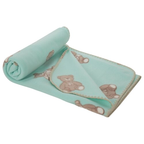 Купить Плед Зайка Моя Мишка с бантиком 100х140 см бирюзовый, Покрывала, подушки, одеяла