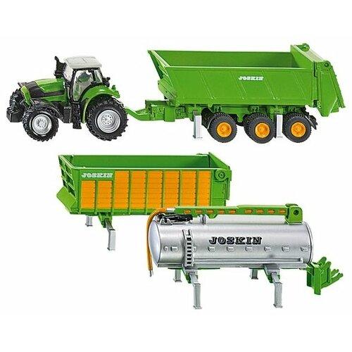 Купить Трактор Siku Deutz Fahr с набором прицепов (1848) 1:87 28 см зеленый, Машинки и техника