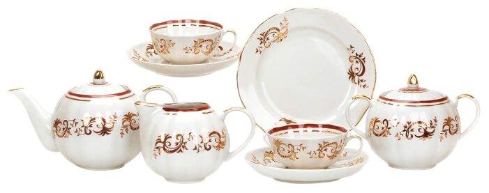 Чайный сервиз Дулёвский фарфор Тюльпан Золотое кружево 21 предмет с1715